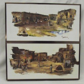 Original Pueblo Framed Paintings - M. Barrick