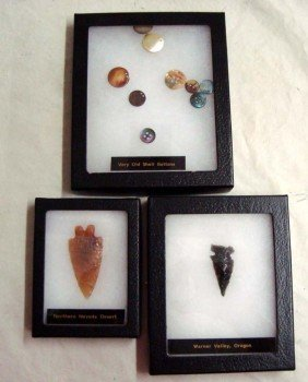 Collection Two Arrowheads And Shell Buttons