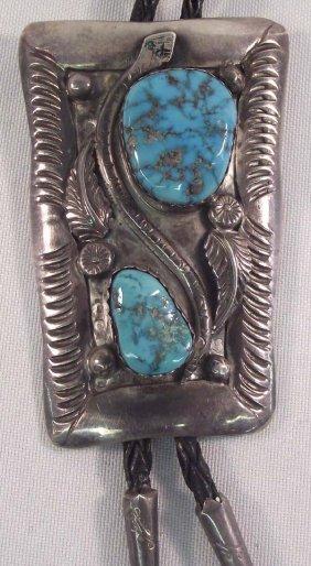 Navajo Sterling Turquoise Bolo Tie - Elsie Yazzie