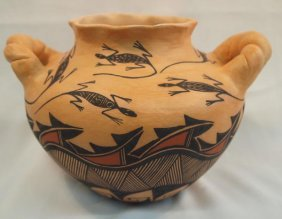 Acoma Double Handled Lizard Vase - Sharon Stevens