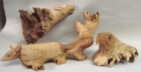 3 Chinaberry Burl Hand Carved Animals