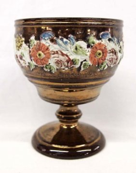 Antique Hand Painted Copper Lustre Goblet