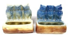 Pair Antique Usa Pottery Owl Pocket Vases