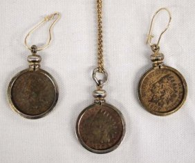 Indian Head Penny Necklace And Earrings