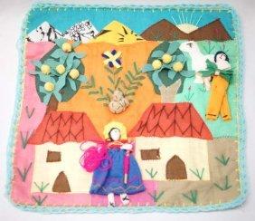South American Folk Art Arpillera Textile