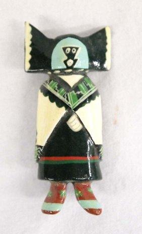 Native American Hopi Carved Wood Kachina Pin