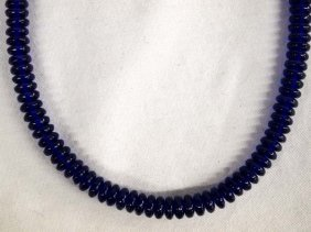 Vintage Cobalt Blue Rondelle Bead Necklace