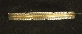 Navajo Sterling Feather Design Cuff Bracelet, Mace