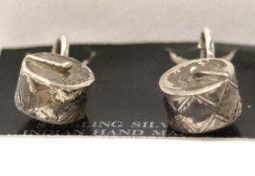 Pair Of Navajo Sterling Silver Drum Earrings