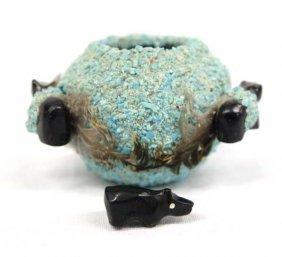 Zuni Miniature Turquoise Encrusted Fetish Bowl