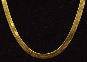 Elegant Italian 14K Gold Herringbone Chain