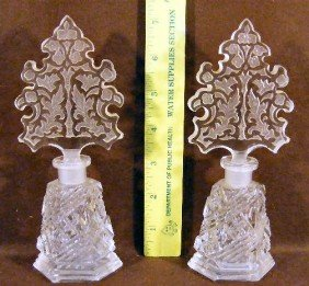 Two Czech. Cut Glass Perfume Bottles With Etched St