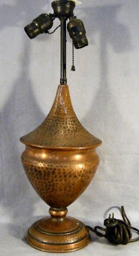 Arts &  Crafts Style Hammered Copper Lamp Base, Un