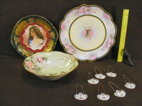 Lot Including Hand Painted Bowl And Tray, Transfer