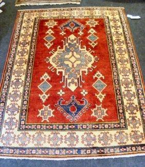 """Oriental Rug, Uzbek Kazak, 4' X 5'6"""""""