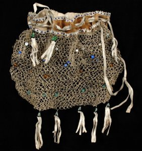 Athabascan Babiche Bag Woven With Glass Beads Ca.