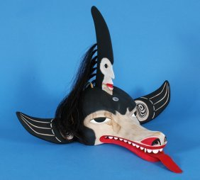 "Sea Wolf Mask Carved By Stan Greene 26"" W. 18"" H."