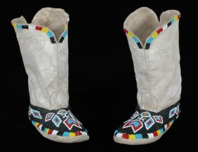 "Pair Of Ute Fully Beaded Moccasins 9 1/4"" L. Fine"