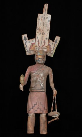 "Pueblo Carved Gan Dancer Kachina 24"" H. 7"" W. Good"