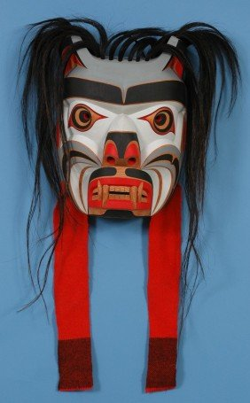 "Kwag-uilth Martin Mask Carved By Gene Brabant 16"" H"