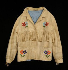 Beaded Fringed Jacket With Floral Design Size ML