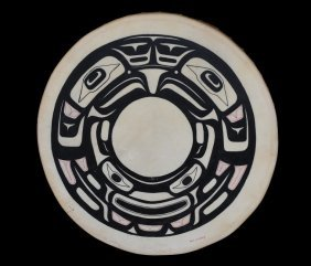 Northwest Coast Painted Drum With Raven Design By W