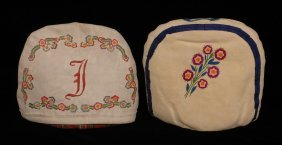 Two Athapascan Silk Embroidered Tea Cozies With Flo