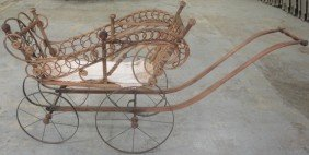 Victorian Wicker Doll Carriage.