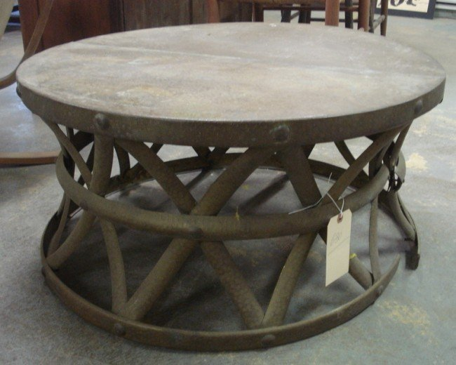 630 Round Copper Hand Hammered Copper Coffee Table Wit Lot 630