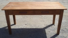 Vintage Oak Library Or Farm Table Table
