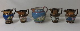 Five Lusterware Pitchers Decorated With Bulls, Dog