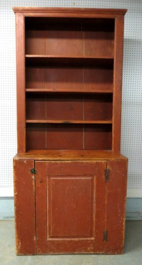 Early Step Back Pewter Cupboard In Old Red Paint -