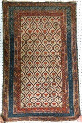 """Oriental Scatter Rug. 3' 8.5"""" X 6' 3"""". Provenance:"""