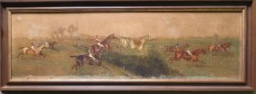 "O/B Steeple Chase Scene - Late 19th Century. 39"" X"