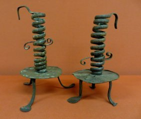 Pair Of Spiral Courting Candlesticks  With Penny Fe