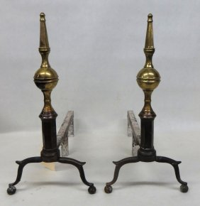 Fine Pair Of Brass Andirons With Steeple Finials, Ar