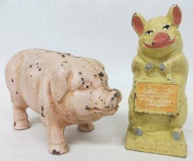 Two Cast Iron Pig Still Banks, Late 19th To Early 2