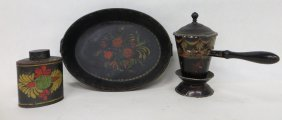 Three Pieces Of Painted Toleware Including Double H