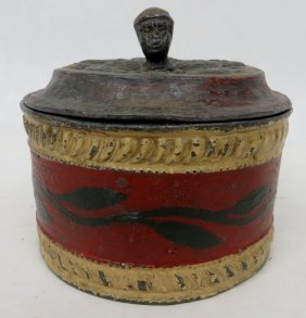 Early Pewter Tobacco Jar - Finial On Lid In The For