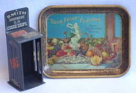 "Two Advertising Items: 1) Serving Tray Entitled ""j."