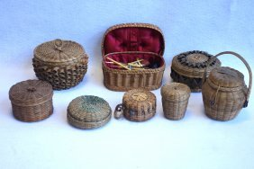 Grouping Of 8 Native American Basketry Items, Most