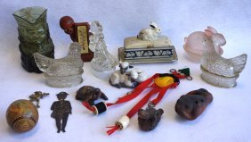 Grouping Of 14 Decorative Items Including 3 Glass