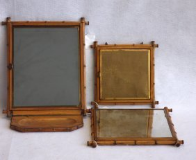 Two Carved Bamboo Folding Dresser Mirrors, With Some