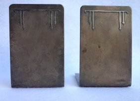 Pair Of Bronze Bookends Stamped With Heintz Label -