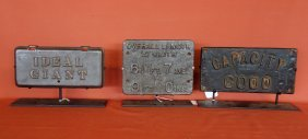 Three Cast Iron Signs, 2 Probably Railroad Related