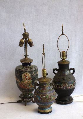 Three Oriental Table Lamps Including 2 Cloisonne (one
