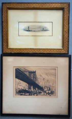 Two Prints Including The Brooklyn Bridge In Original