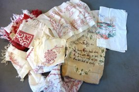 Grouping Of Mostly Embroidered Red And White Textiles