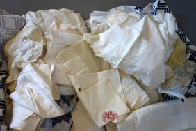 Two Boxes Of White Table Covers, Bed Covers, Napkins,