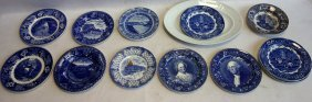Grouping Of 13 Blue And White Transferware Plates